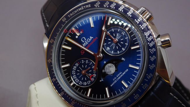 omega speedmaster moonphase blue